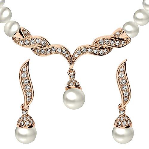 MYA art Damen Schmuckset mit Perlen Swarovski Elements Halskette Perlenanhänger hängende Ohrringe Rose Gold Weiß Collier Set Rosegold MYAWGKET-35