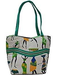 Smart Jute Double Partition Shoulder Bag - Green, Doll Print