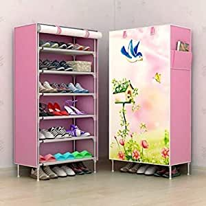 Aysis Multipurpose Portable Folding Shoes Rack 6 Tiers Multi-Purpose Shoe Storage Organizer Cabinet Tower with Iron and Nonwoven Fabric with Zippered Dustproof Cover(Lovebird-Pink)
