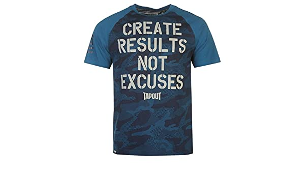 6808e8b0137b TapouT Create Results Not Excuses T-Shirt Mens Teal/Navy Top Tee Shirt Large:  Amazon.co.uk: Clothing