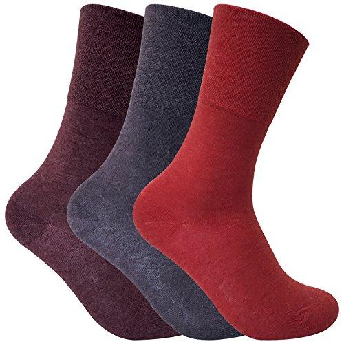 Sock Snob 3 pares mujer invernio calientes finos calcetines diabeticos sin elastico para la circulacion (37-42 eur, THRDIAL02)