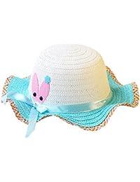 Sombreros de Paja de Sol Playa Gorra de Bola ala Ancho Protector Visera de Verano  Solar para Niñas Chicas bebé… 762dea2ecea