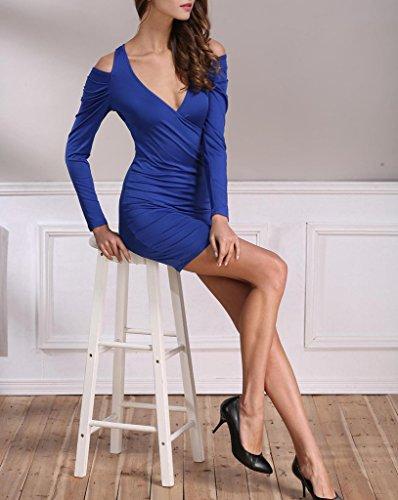 Bigood Sexy Épaule Nu Robe Manche Longue Hanche Jupe Col V Foncé Bleu Clair