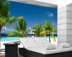 """Papier peint photo No.4 """"PARADISE BAY"""" 400x280cm plage, île, mer, palmier, océan, beach, sable, Caraibe, Seychelles, Île Maurice, Maledives, pas cher"""