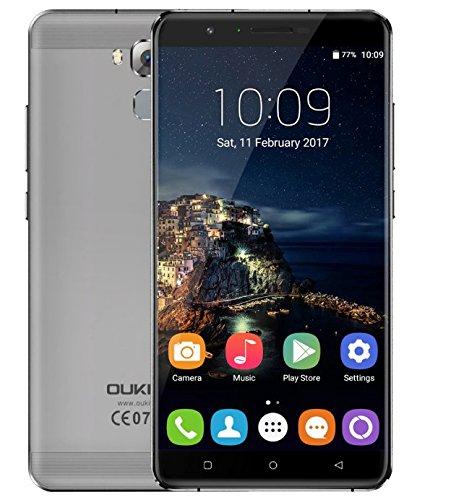 (NUEVO lanzado)) OUKITEL U16 MAX - 6 pulgadas de gran pantalla Android 7.0 Smartphone MTK6753 Octa Core 3G RAM 32G ROM 5MP + 13MP cámara 4000mAh de la batería  Cuerpo de metal Huella digital - Gris