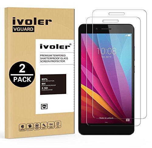 iVoler [2 Stücke] Panzerglas Schutzfolie für Huawei Honor 5X [9H Härte] [Anti- Kratzer] [Bläschenfrei] [2.5D R&e Kante]