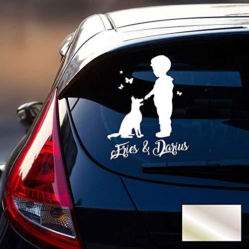 Autotattoo 1 Junge mit Hund Heckscheiben Aufkleber Namensaufkleber Kinder Schmetterlinge Namen Wunschnamen M2388 - ausgewählte Farbe: *silber* ausgewählte Größe: *M - 25cm hoch x 20cm breit*