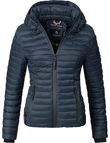 Marikoo Damen Übergangs-Jacke Jacke Steppjacke Samtpfote Blau Gr. L