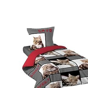 Douceur d'Intérieur Parure de Lit 1 personne - Housse de Couette 140 x 200 cm + 1 Taie - Imprimé Lovely Cats