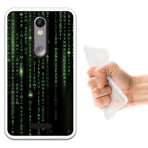 WoowCase Motorola Moto X Force Hülle, Handyhülle Silikon für [ Motorola Moto X Force ] Grüner Matrix Code Handytasche Handy Cover Case Schutzhülle Flexible TPU - Transparent