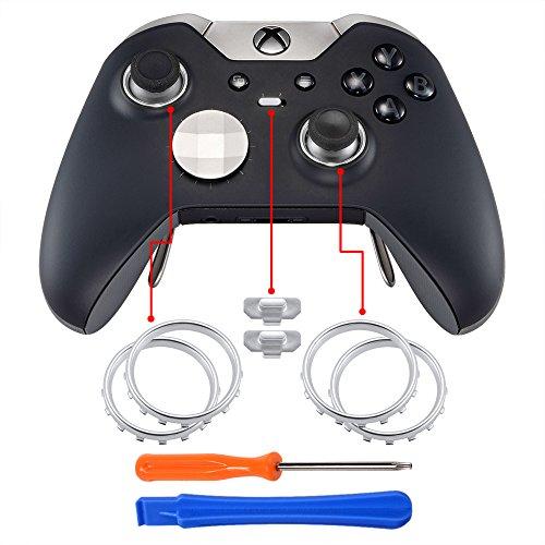 eXtremeRate Thumbstick Tasten Accent Rings Thumb Stick Kreisring Zubehör mit Hebelwerkzeug und Schraubenzieher für MicrosoftXbox One Elite Controller(Silber)