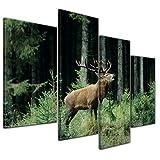 Kunstdruck - Hirsch - 120x80 cm 4 teilig - Bilder als Leinwanddruck - Wandbild von Bilderdepot24 - Tierwelten - Waldtier - Rotwild - röhrender Hirsch im Wald
