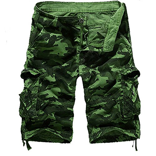 Herren Cargo Shorts Bermuda Kurze Hose Aus 100% Baumwolle Regular Fit -