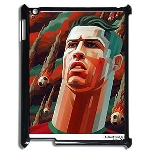 Cristiano Ronaldo 3D Dessin abstrait iPad 2/3/42D Étui pour femmes, étui pour iPad [Noir]