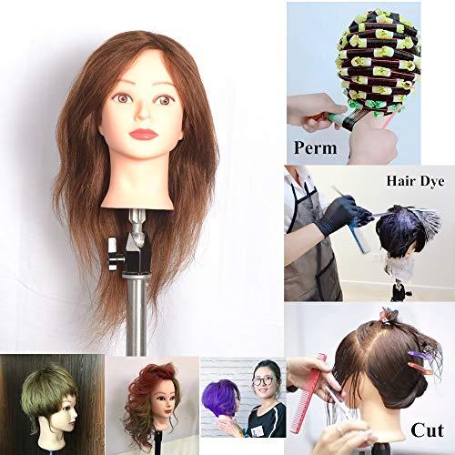 18 inches Charming Tête de femme à coiffer pour apprentissage de la coiffure avec vis de serrage 100% cheveux humains Brun foncé n°4