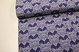 Pinidi Stoffzuschnitt/100cmx160cm/beste Jersey-Qualität/Jersey/Sommer-Sweat (Milliblu's) Ornamente Weiß auf Royalblau