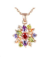DesignIN 18K Rose Gold Plated Necklace Featuring Pendant With Multi Color AAA Cubic Zircons