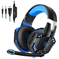 [Cable PC] Tsing Auriculares Cascos Gaming de Diadema Abiertos Estéreo con Micrófono para PC Computadoras (Negro+Azul)