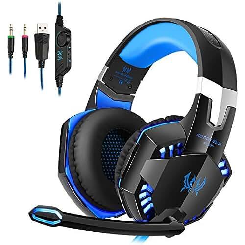 ropa kawaii para los mas guays Tsing Auriculares Cascos Gaming de Diadema Abiertos Estéreo con Micrófono para PC Computadoras (Negro+Azul)