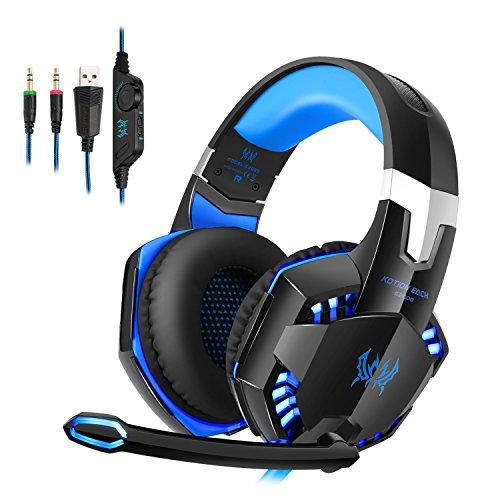 Each g2000 cuffie da gioco gaming headphone con microfono stereo bass led luce regolatore di volume per pc 2 jack (mic e altoparlanti) nero-blue