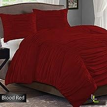 300tc 100% algodón egipcio elegante acabado 3pcs Reunidos volantes juego de funda nórdica sólido, algodón, Blood Red Solid, Euro_Super_King_Extra_Long