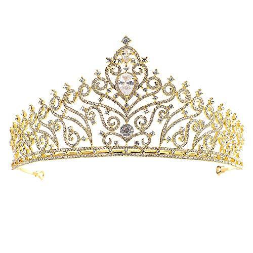 Kristall Krone Braut Hochzeit Prinzessin Prom Kristall Krone Strass Für Kinder Und Erwachsene Stirnband Tiara Haarschmuck (Farbe: Gold)
