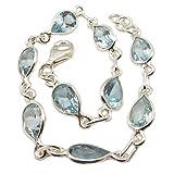 Bijoux et Objets - Bracelet topaze bleue en argent massif - Dimensions des pierres 6x9mm...