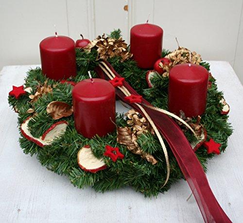 floristikvergleich.de Adventskranz Weihnachtskranz künstlich mit 4 roten Kerzen 35 cm #43384