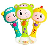 eastsun Early Education 3 Month Old Baby Plastic Dynamic Rhythm Stick Hand Mucial Rattle For Baby Kids Children Boy Girl