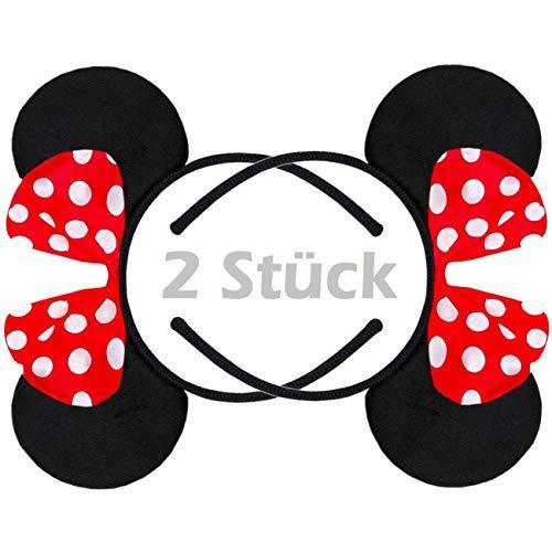 Hatstar 2 Stück | Haarreifen mit Maus Ohren | Mouse Ears in schwarz mit roter Schleife und weißen Punkten für Kinder und Erwachsene (Maus Ohren rot | 2 ()