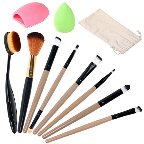Gsm Makeup Brush Set,Oval Brush Toothbrush Curve Contouring,Blending,Blush,Concealer,Eyeshadow Brush(8 Brushes)Makeup Cleaner-Makeup Sponge