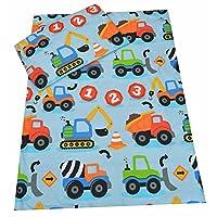 Toddler cot Bed Bedding Set Duvet Cover Pillowcase 120x150 cm 100% Cotton (Construction Vehicles)