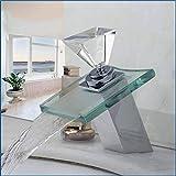 Grifería Baño de lujo con cubierta cuadrada, cascada, vidrio, latón, fregadero, mango, licuadora de diamantes y grifo lavabo
