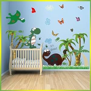 wandaufkleber sticker f r kinderzimmer dinosaurier mit palmen wird in 3 packungen geliefert. Black Bedroom Furniture Sets. Home Design Ideas