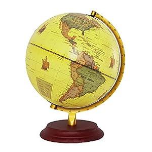 Globo del mundo 2 en 1 Globo del mundo iluminado Dia 25 CM con una base de madera Soporte de metal