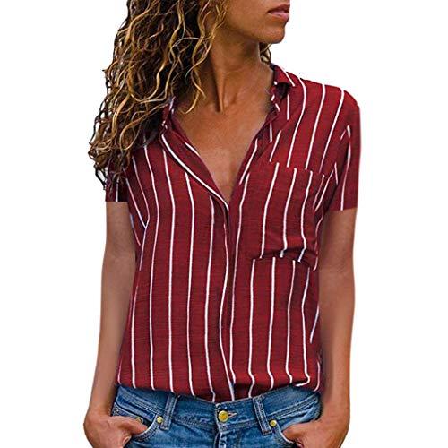 ITISME Femme Chemise Soie Chic Manche Court Ete Casual Col V éLégant Bureau Femme Mode Tee Top Haut Blouse Tee Shirt Femme Manche Courte T-Shirt Femme Pas Cher T-Shirt Femme Grande Taill