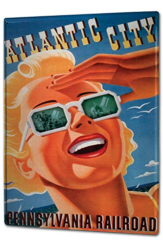 HGNGHN Tin Sign XXL Globetrotter Atlantic City Pennsylvania Flyway Blonde Woman Sunglasses