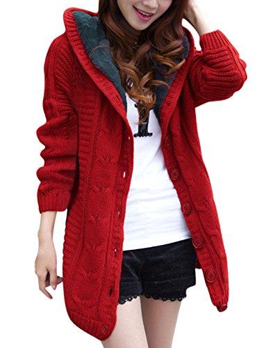 sourcingmap® Manches raglan longues femmes capuche cardigan tricoté surtout red