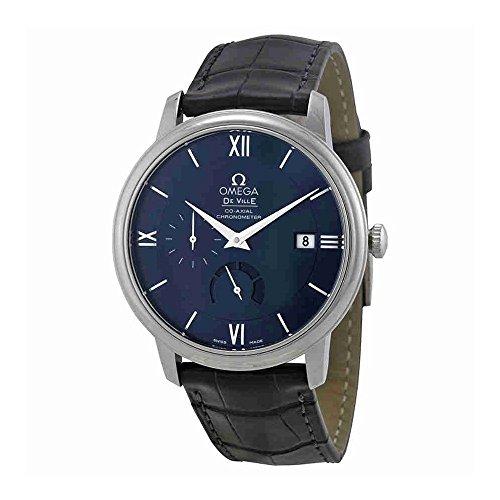 Omega De Ville Prestige esfera azul De piel De color negro reloj De los hombres 42413402103001