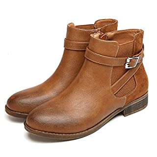 gracosy Womens Leather Ankle Boots Winter Flat Chelsea Biker Casual Booties Shoes Ladies Comfortable Anti-Slip Martin Boots Outdoor Buckle Strappy Vintage Boots Work Office Party Shoes Khaki 5 UK