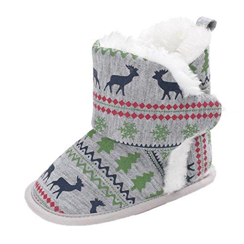 as Neugeboren Säugling Baby Jungen Mädchen Stiefel Schuhe Soft Sole Anti-Rutsch (11, Grau) (Christmas Elf Schuhe)