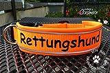 Hundehalsband RETTUNGSHUND Gurtband mit Neopren mit WUNSCHTEXT