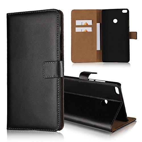Copmob Kompatibel mit Xiaomi Mi Max 2 Hülle Handyhülle Mi Max 2 [Premium Leder] [Standfunktion] [Kartenfach] [Magnetverschluss] Schlanke Leder Brieftasche für Mi Max 2 Schwarz