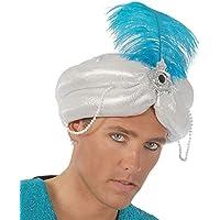 Fiestas Guirca Turbante indiano con piuma azzurra per travestimento Maraja  Aladino 861b350f70a4