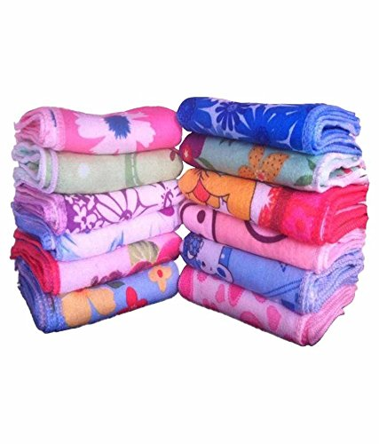 Dht Set Of 12 100% Cotton Face Towel,Multicolor