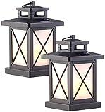 Lunartec 2er-Set Solar-Gartenlaternen, 32 Flammeneffekt-LEDs, Lichtsensor, Akku