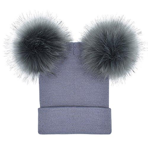 Mütze Damen Winter Zwei Bommel, Strickmütze mit Fellbommel, Oyedens Warme...