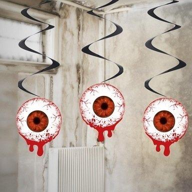 Swirl-Dekoration Augapfel, blutiges Auge, ca. 60 cm, 3 St. - Halloween Deko (Halloween Dekoration Augäpfel)