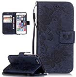 Roreikes Apple iphone 6 Hülle, iphone 6S Case (4.7 Zoll), Muster PU Leder Handyhülle Flip Wallet Cover Blume Schmetterling Pattern Hülle Bookstyle Tasche mit Strap Portable Carrying Schutz Cases Etui Lederhülle Handytasche mit Magnetic Closure Stand ID Card Slots Pouch Soft Silikon für Apple iphone 6 / iphone 6S (4.7 Zoll) (Marineblau)