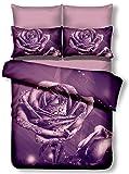 DecoKing Premium 00946 Bettwäsche 135x200 cm mit 1 Kissenbezug 80x80 lila 3D Microfaser Bettbezug Bettwäschegarnitur Rosa Rose Blumen Blumenmuster violett Pflaume violet lilac plum Meredith